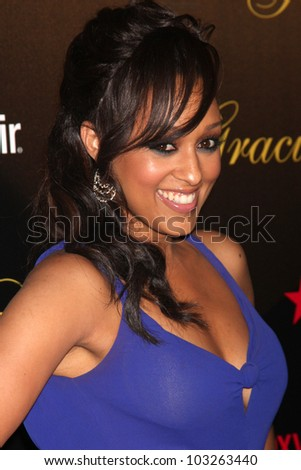 LOS ANGELES - MAY 22:  Tia Mowry-Hardrict arrives at the 37th Annual Gracie Awards Gala at Beverly Hilton Hotel on May 22, 2012 in Beverly Hllls, CA - stock photo