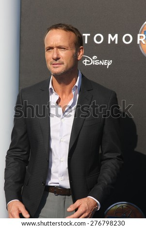 """LOS ANGELES - MAY 9:  Tim McGraw at the """"Tomorrowland"""" Premiere at the AMC Downtown Disney on May 9, 2015 in Lake Buena Vista, CA - stock photo"""