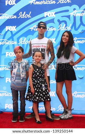 LOS ANGELES - MAY 16:  Travis Barker arrives at the American Idol Season 12 Finale at the Nokia Theater at LA Live on May 16, 2013 in Los Angeles, CA