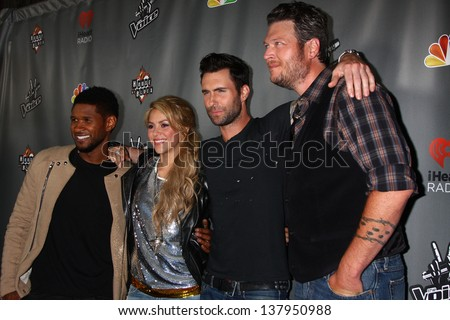 "LOS ANGELES - MAY 8:  Usher, Shakira, Adam Levine, Blake Sheldon arrives at ""The Voice"" Season 4 Top 12 Event at the House of Blues on May 8, 2013 in West Hollywood, CA"