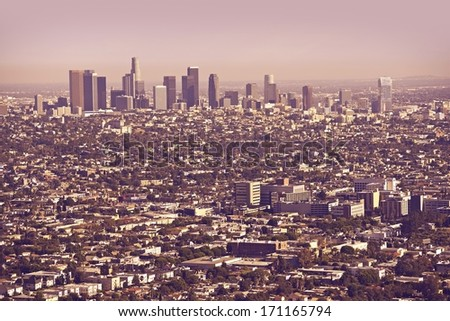 Los Angeles Metro Area Panorama. Los Angeles, California, United States. - stock photo