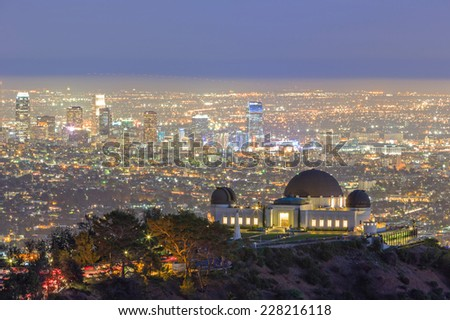 Los Angeles Night Cityscape, Griffin Observatory - stock photo
