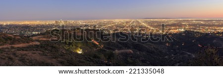 Los Angeles Night Scene, Griffin Observatory - stock photo