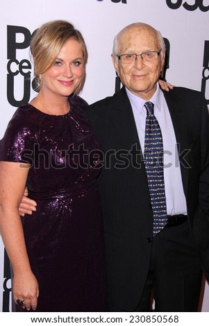 LOS ANGELES - NOV 11:  Amy Poehler, Norman Lear at the PEN Center USA 24th Annual Literary Awards at the Beverly Wilshire Hotel on November 11, 2014 in Beverly Hills, CA - stock photo