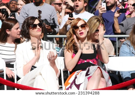 LOS ANGELES - NOV 17:  Anne Hathaway, Jessica Chastain at the Matthew McConaughey Hollywood Walk of Fame Star Ceremony at the Hollywood & Highland on November 17, 2014 in Los Angeles, CA - stock photo