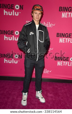 LOS ANGELES - NOV 10:  Ansel Elgort at the T-Mobile Un-carrier X Launch Celebration at the Shrine Auditorium on November 10, 2015 in Los Angeles, CA - stock photo