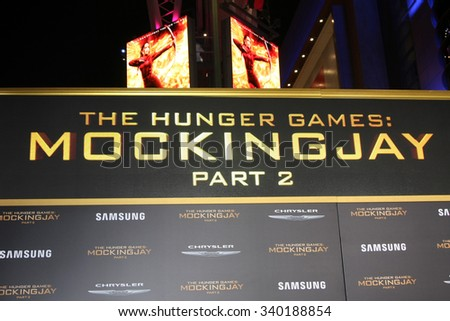 """LOS ANGELES - NOV 16:  Atmosphere at the """"The Hunger Games -Mockingjay Part 2"""" LA Premiere at the Microsoft Theater on November 16, 2015 in Los Angeles, CA - stock photo"""