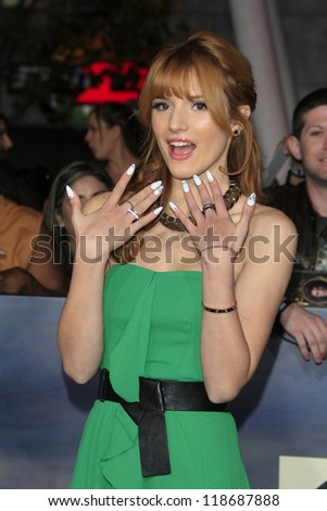 LOS ANGELES - NOV 12: Bella Thorne at the premiere of 'The Twilight Saga: Breaking Dawn - Part 2' at Nokia Theater L.A. Live on November 12, 2012 in Los Angeles, California - stock photo