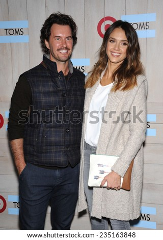 LOS ANGELES - NOV 12:  Blake Mycoskie & Jessica Alba arrives to the TOMS for Target Partnership Celebration on November 12, 2014 in Culver City, CA                 - stock photo