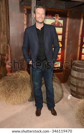 """LOS ANGELES - NOV 30:  Blake Shelton at the """"The Ridiculous 6"""" Los Angeles Premiere at the AMC Universal City Walk on November 30, 2015 in Los Angeles, CA - stock photo"""