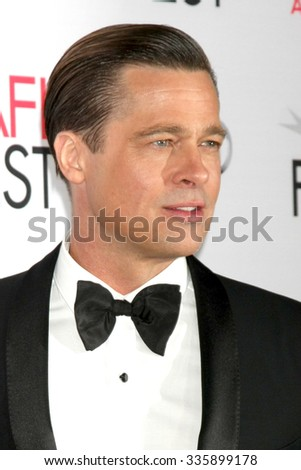 """LOS ANGELES - NOV 5:  Brad Pitt at the AFI FEST 2015 Presented By Audi Opening Night Gala Premiere of """"By The Sea"""" at the TCL Chinese Theater on November 5, 2015 in Los Angeles, CA - stock photo"""