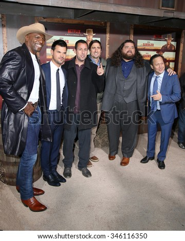 """LOS ANGELES - NOV 30:  Cast at the """"The Ridiculous 6"""" Los Angeles Premiere at the AMC Universal City Walk on November 30, 2015 in Los Angeles, CA - stock photo"""