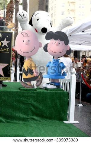 LOS ANGELES - NOV 2:  Charlie Brown, Snoopy, Lucy at the Snoopy Hollywood Walk of Fame Ceremony at the Hollywood Walk of Fame on November 2, 2015 in Los Angeles, CA - stock photo