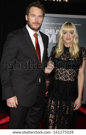 "LOS ANGELES - NOV 3:  Chris Pratt, Anna Faris at the ""Delivery Man"" World Premiere at El Capitan Theater on November 3, 2013 in Los Angeles, CA - stock photo"