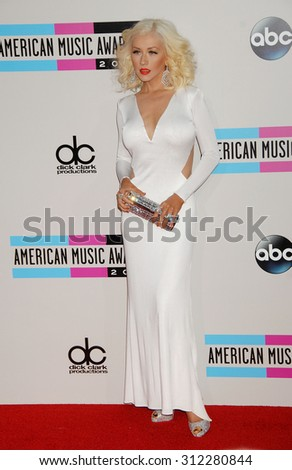 LOS ANGELES - NOV 24:  Christina Aguilera arrives at the 2013 American Music Awards Arrivals  on November 24, 2013 in Los Angeles, CA                 - stock photo