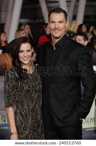 """LOS ANGELES - NOV 11:  Daniel Cudmore & Date arrives to the """"The Twilight Saga: Breaking Dawn-Part 2"""" World Premiere  on November 11, 2012 in Los Angeles, CA                 - stock photo"""