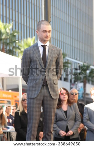 LOS ANGELES - NOV 12:  Daniel Radcliffe at the Daniel Radcliffe Hollywood Walk of Fame Ceremony at the Hollywood Walk of Fame on November 12, 2015 in Los Angeles, CA - stock photo
