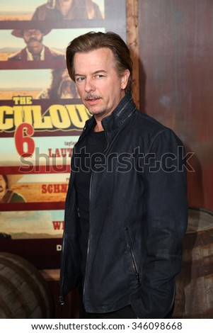 """LOS ANGELES - NOV 30:  David Spade at the """"The Ridiculous 6"""" Los Angeles Premiere at the AMC Universal City Walk on November 30, 2015 in Los Angeles, CA - stock photo"""