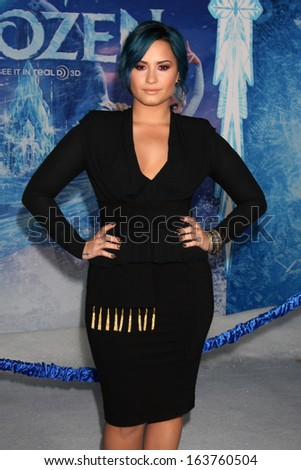 "LOS ANGELES - NOV 19:  Demi Lovato_ at the ""Frozen"" World Premiere at El Capitan Theater on November 19, 2013 in Los Angeles, CA - stock photo"