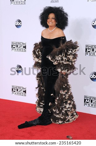 LOS ANGELES - NOV 23:  Diana Ross arrives to the 2014 American Music Awards on November 23, 2014 in Los Angeles, CA                 - stock photo