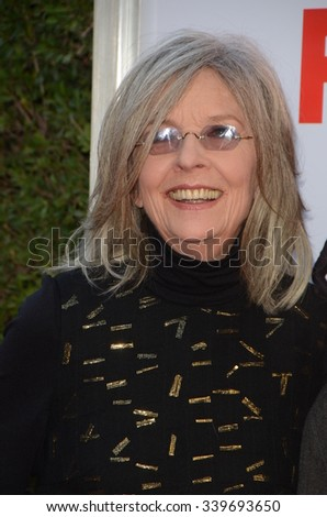 """LOS ANGELES - NOV 12:  Diane Keaton at the """"Love the Coopers"""" Los Angeles Premiere at the The Grove on November 12, 2015 in Los Angeles, CA - stock photo"""
