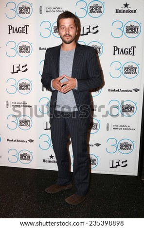 LOS ANGELES - NOV 25:  Diego Luna at the Film Independent Spirit Award Nominations at the W Hotel Hollywood on November 25, 2014 in Los Angeles, CA - stock photo