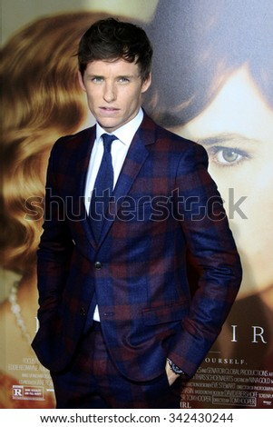 """LOS ANGELES - NOV 21:  Eddie Redmayne at the """"The Danish Girl"""" Premiere at the Village Theater on November 21, 2015 in Westwood, CA - stock photo"""