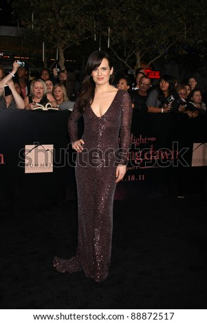 "LOS ANGELES - NOV 14:  Eizabeth Reaser arrives at the ""Twilight: Breaking Dawn Part 1"" World Premiere at Nokia Theater at LA LIve on November 14, 2011 in Los Angeles, CA - stock photo"