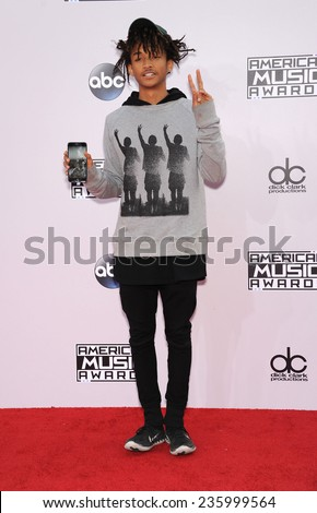 LOS ANGELES - NOV 23:  Jaden Smith arrives to the 2014 American Music Awards on November 23, 2014 in Los Angeles, CA                 - stock photo
