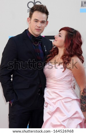 LOS ANGELES - NOV 24:  James Durbin and wife Heidi Lowe at the 2013 American Music Awards Arrivals at Nokia Theater on November 24, 2013 in Los Angeles, CA - stock photo