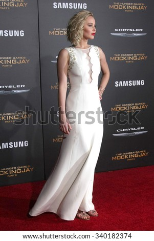 """LOS ANGELES - NOV 16:  Jennifer Lawrence at the """"The Hunger Games -Mockingjay Part 2"""" LA Premiere at the Microsoft Theater on November 16, 2015 in Los Angeles, CA - stock photo"""