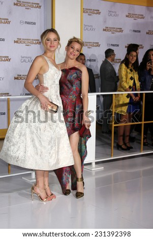 LOS ANGELES - NOV 17:  Jennifer Lawrence, Elizabeth Banks at the The Hunger Games: Mockingjay Part 1 Premiere at the Nokia Theater on November 17, 2014 in Los Angeles, CA - stock photo