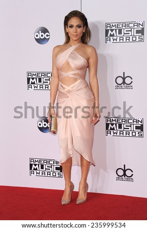 LOS ANGELES - NOV 23:  Jennifer Lopez arrives to the 2014 American Music Awards on November 23, 2014 in Los Angeles, CA                 - stock photo