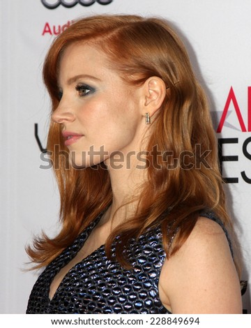 "LOS ANGELES - NOV 6:  Jessica Chastain at the AFI FEST 2014 Screening Of ""A Most Violent Year"" at the Dolby Theater on November 6, 2014 in Los Angeles, CA - stock photo"