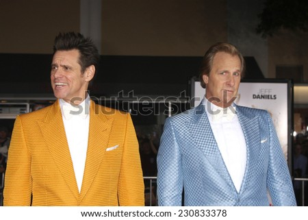 LOS ANGELES - NOV 3:  Jim Carrey, Jeff Daniels at the Dumb and Dumber To Premiere at the Village Theater on November 3, 2014 in Los Angeles, CA - stock photo