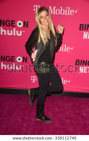 LOS ANGELES - NOV 10:  Justine Ezarik at the T-Mobile Un-carrier X Launch Celebration at the Shrine Auditorium on November 10, 2015 in Los Angeles, CA - stock photo