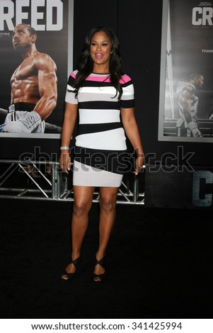 """LOS ANGELES - NOV 19:  Laila Ali at the """"Creed"""" Los Angeles Premiere at the Village Theater on November 19, 2015 in Westwood, CA - stock photo"""
