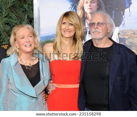 "LOS ANGELES - NOV 19:  Laura Dern, Diane Ladd & Bruce Dern arrives to the ""Wild"" Los Angeles Premiere on November 19, 2014 in Beverly Hills, CA                 - stock photo"