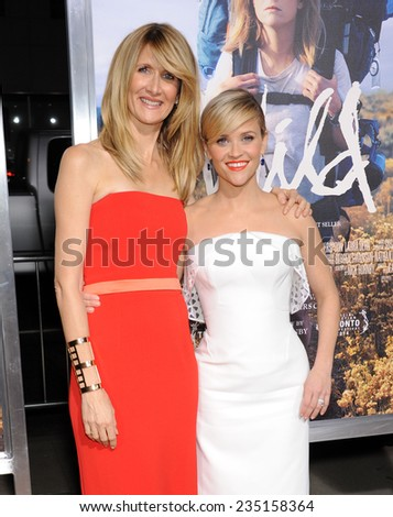 "LOS ANGELES - NOV 19:  Laura Dern & Reese Witherspoon arrives to the ""Wild"" Los Angeles Premiere on November 19, 2014 in Beverly Hills, CA                 - stock photo"