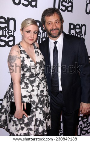 LOS ANGELES - NOV 11:  Lena Dunham, Judd Apatow at the PEN Center USA 24th Annual Literary Awards at the Beverly Wilshire Hotel on November 11, 2014 in Beverly Hills, CA - stock photo
