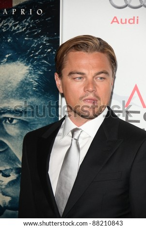 """LOS ANGELES - NOV 3:  Leonardo DiCaprio arrives at the AFI FEST 2011 Presented By Audi - """"J. Edgar"""" Opening Night Gala at Grauman's Chinese Theater on November 3, 2011 in Los Angeles, CA - stock photo"""