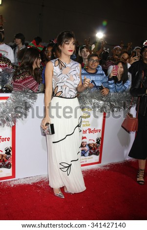 """LOS ANGELES - NOV 17:  Lizzy Caplan at the """"The Night Before"""" LA Premiere at the The Theatre at The ACE Hotel on November 17, 2015 in Los Angeles, CA - stock photo"""