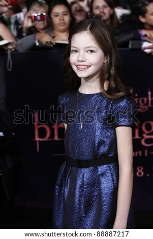 LOS ANGELES - NOV 14: Mackenzie Foy arrives at the World Premiere of 'The Twilight Saga: Breaking Dawn Part 1' held at Nokia Theater L.A. Live on November 14, 2011 in Los Angeles, California - stock photo