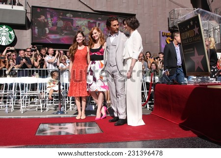 LOS ANGELES - NOV 17:  Mackenzie Foy, Jessica Chastain, Matthew McConaughey, Anne Hathaway at the Matthew McConaughey Hollywood WOF Star Ceremony  on November 17, 2014 in Los Angeles, CA - stock photo