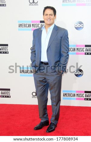 LOS ANGELES - NOV 24: Mark Cuban at the 2013 American Music Awards at Nokia Theater L.A. Live on November 24, 2013 in Los Angeles, California - stock photo