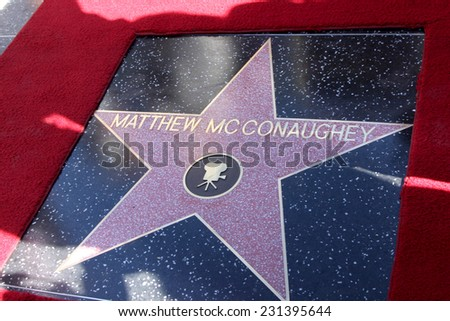 LOS ANGELES - NOV 17:  Matthew McConaughey Star at the Matthew McConaughey Hollywood Walk of Fame Star Ceremony at the Hollywood & Highland on November 17, 2014 in Los Angeles, CA - stock photo