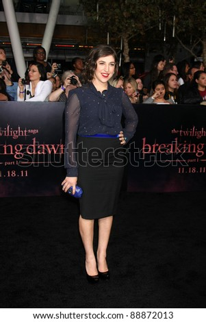 "LOS ANGELES - NOV 14:  Mayim Bialik arrives at the ""Twilight: Breaking Dawn Part 1"" World Premiere at Nokia Theater at LA LIve on November 14, 2011 in Los Angeles, CA - stock photo"