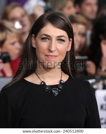 "LOS ANGELES - NOV 11:  Mayim Bialik arrives to the ""The Twilight Saga: Breaking Dawn-Part 2"" World Premiere  on November 11, 2012 in Los Angeles, CA                 - stock photo"