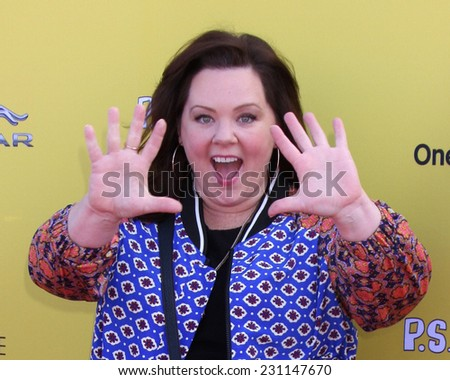 LOS ANGELES - NOV 16:  Melissa McCarthy at the PS Arts Express Yourself Benefit at the Barker Hanger on November 16, 2014 in Santa Monica, CA - stock photo