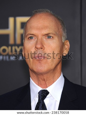LOS ANGELES - NOV 14:  Michael Keaton arrives to the The Hollywood Film Awards 2014 on November 14, 2014 in Hollywood, CA                 - stock photo